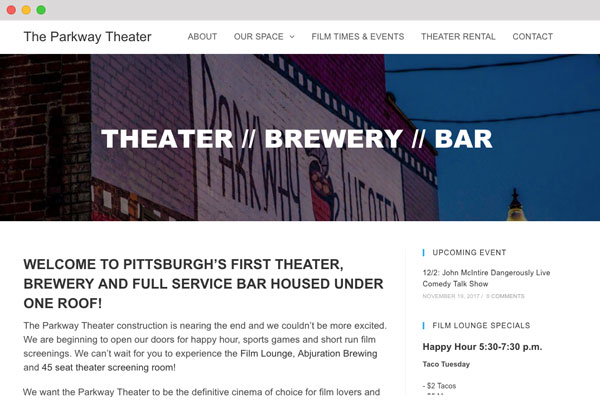 The Parkway Theater Responsice WordPress Website